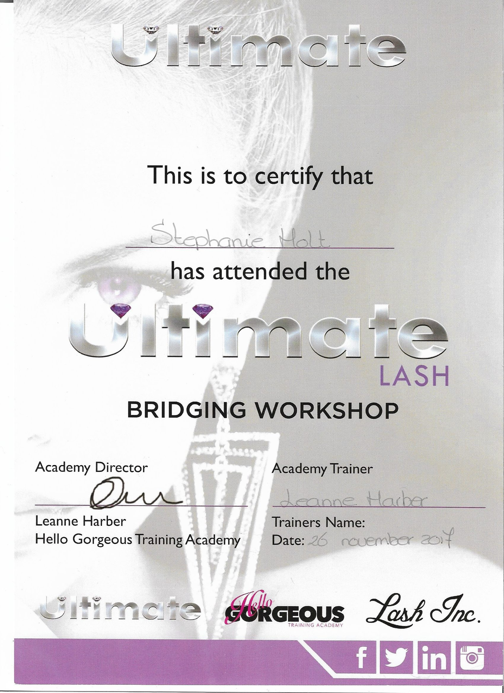 Certificaat Bridging Workshop Ultimate