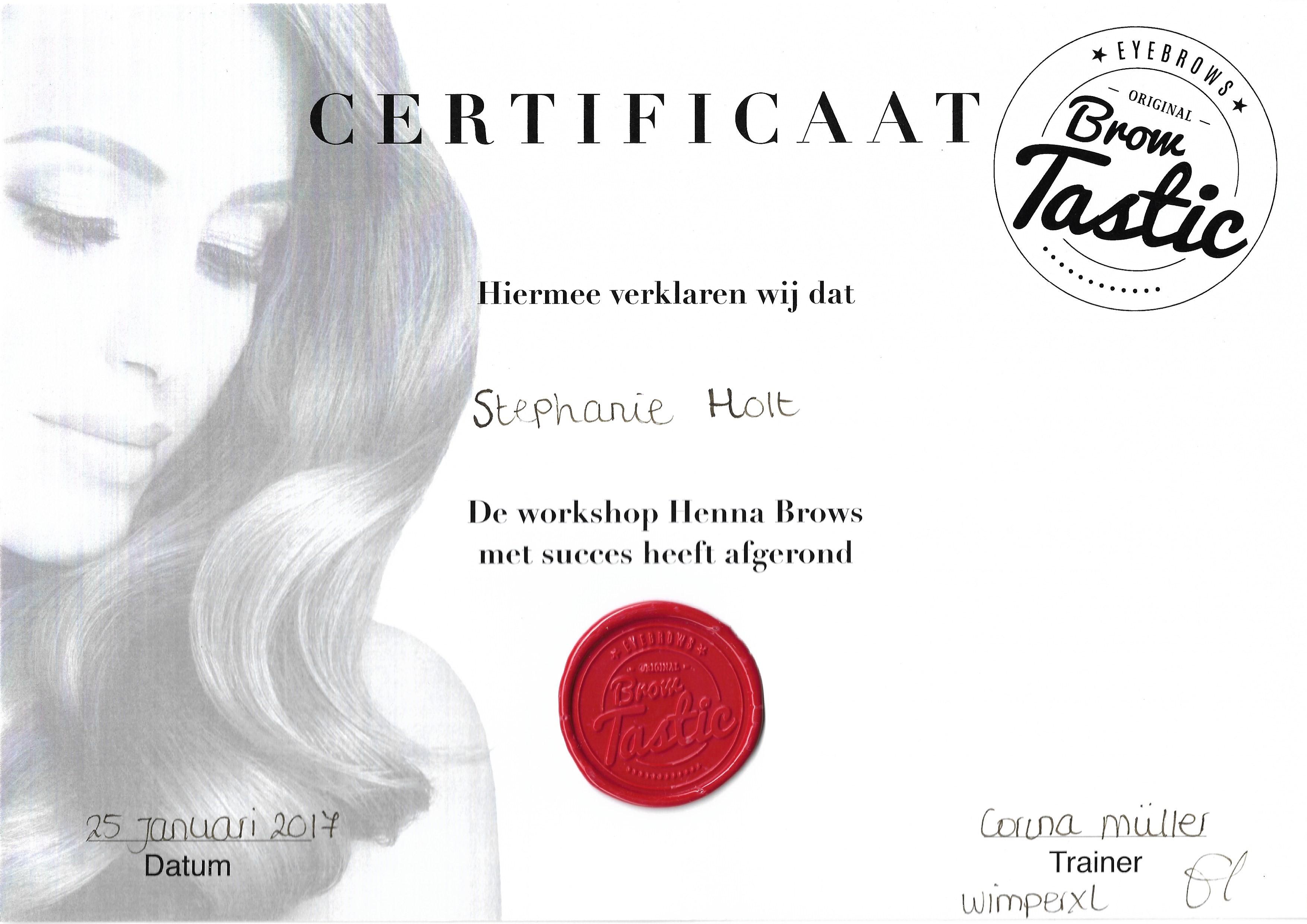 Certificaat Browtastic Henna Brows