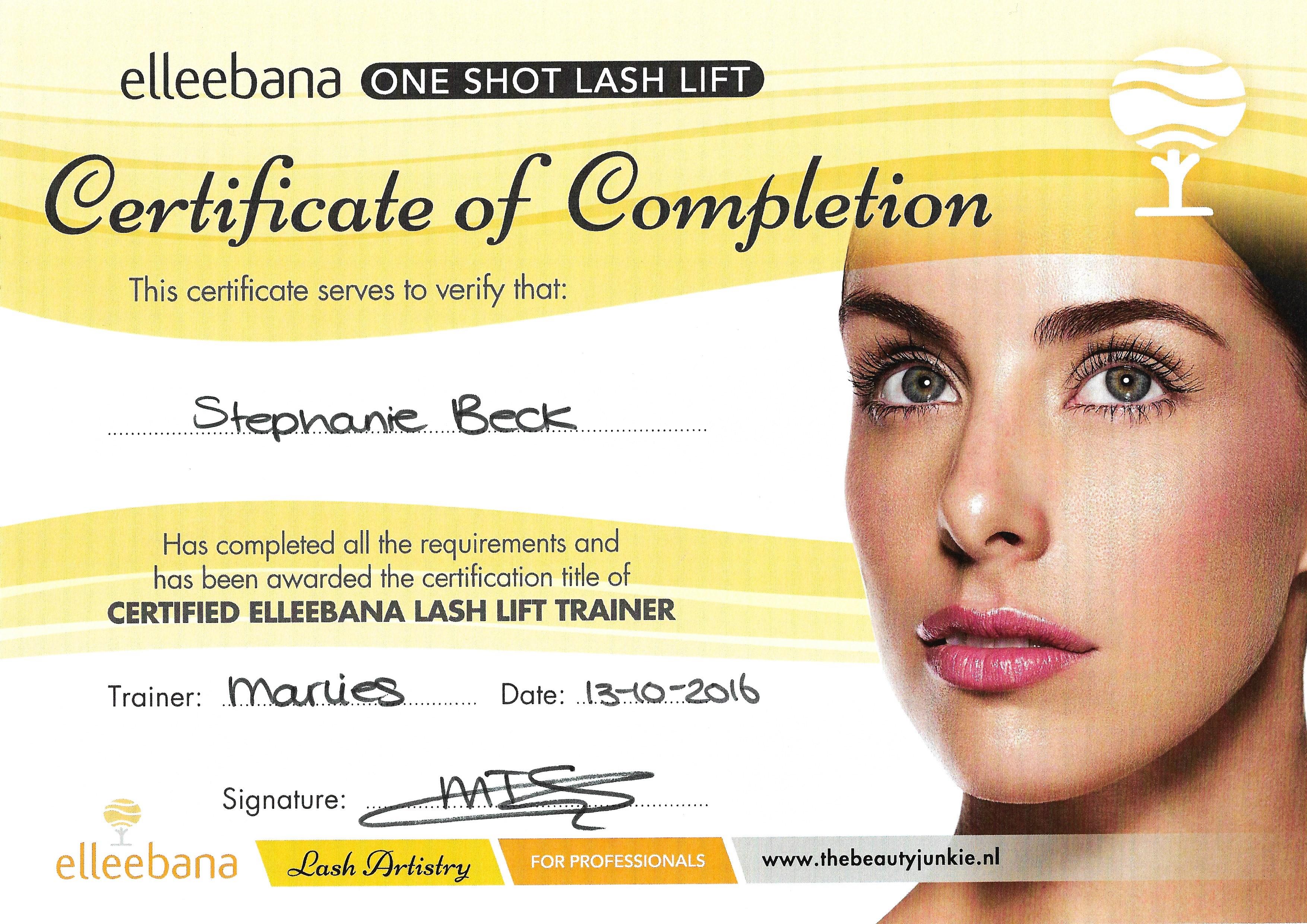 Certificaat Certified Elleebana Lash Lift Trainer