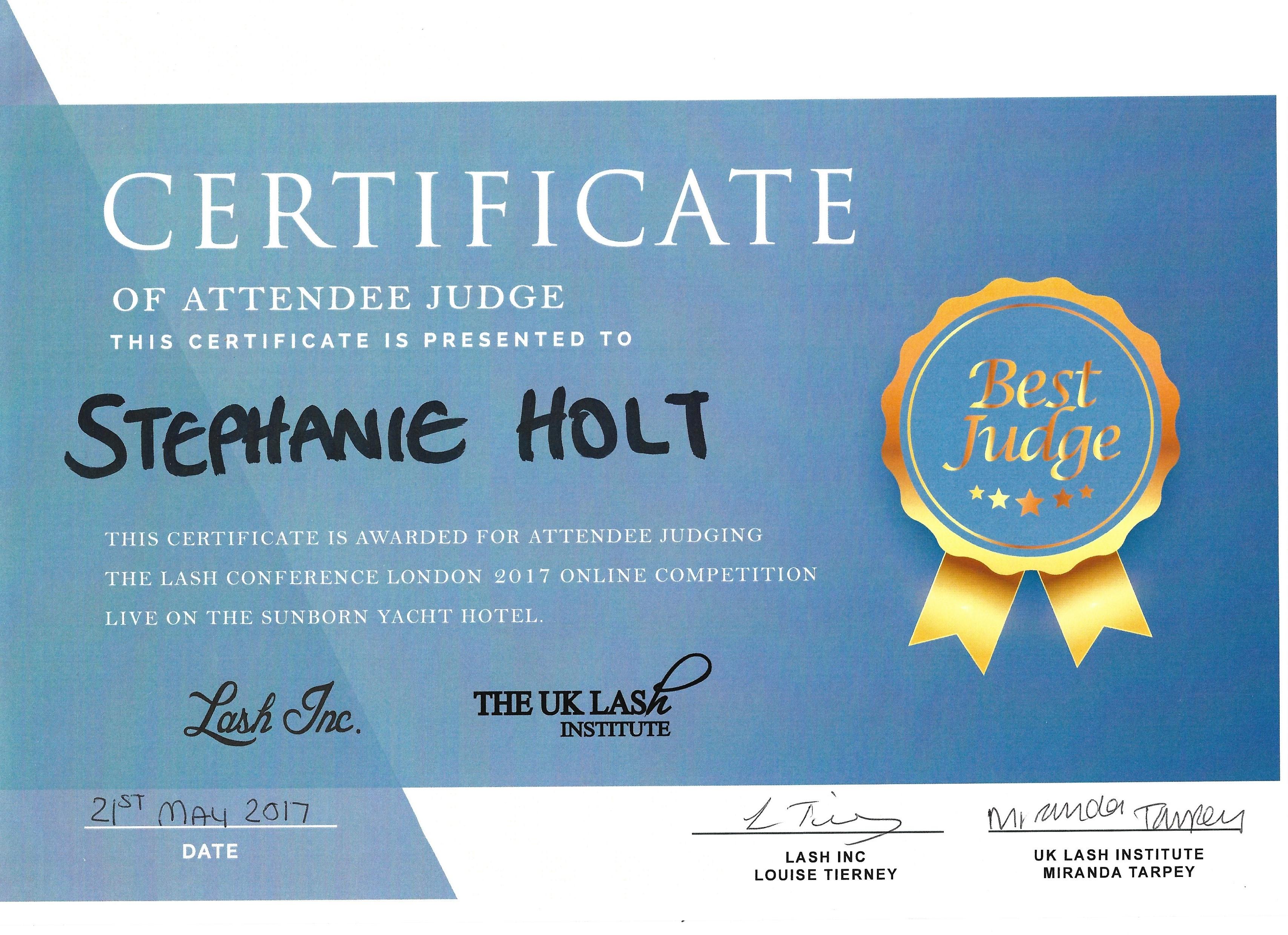 Certificaat Lash Judge