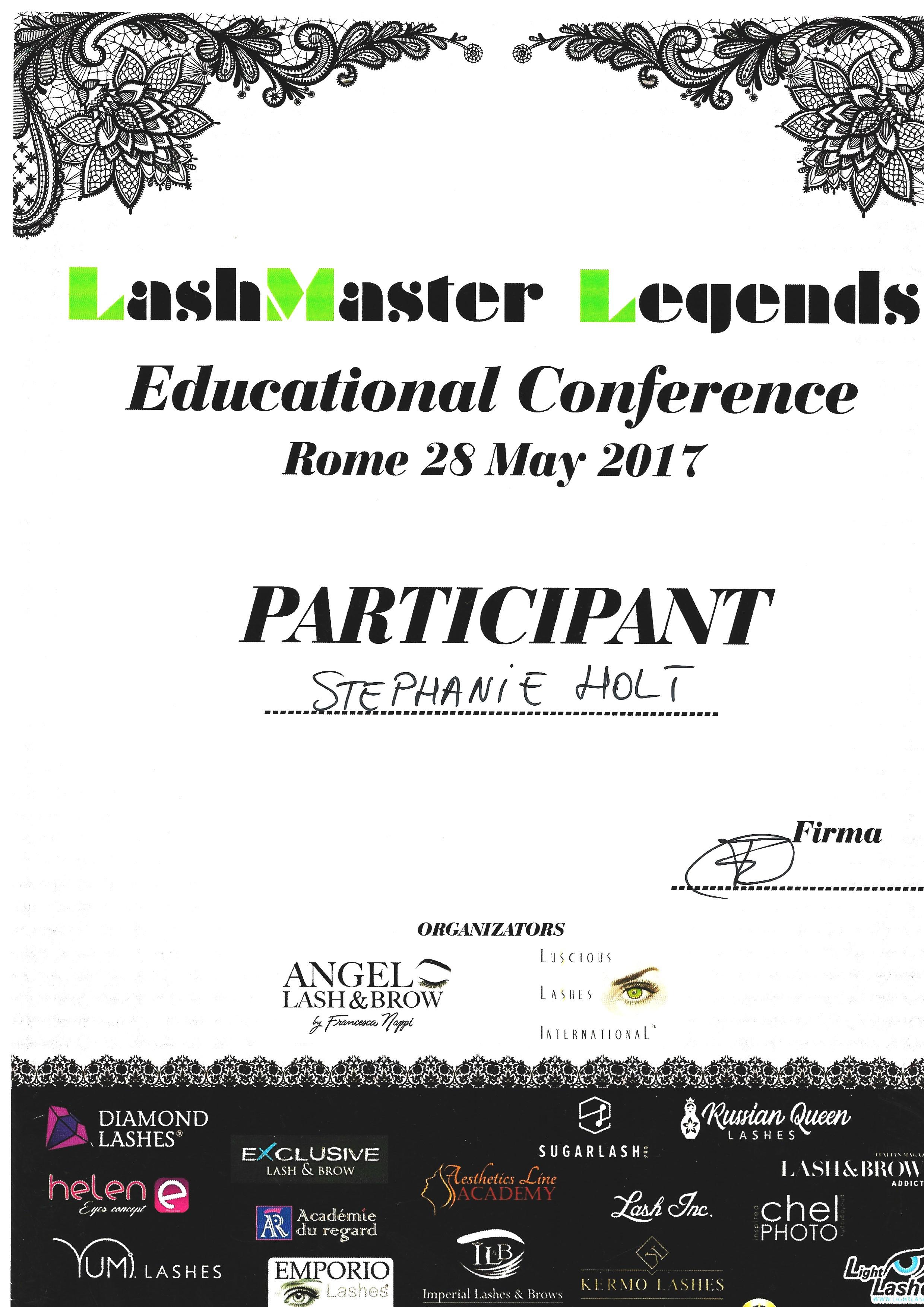 Certificaat Lash Master Legends