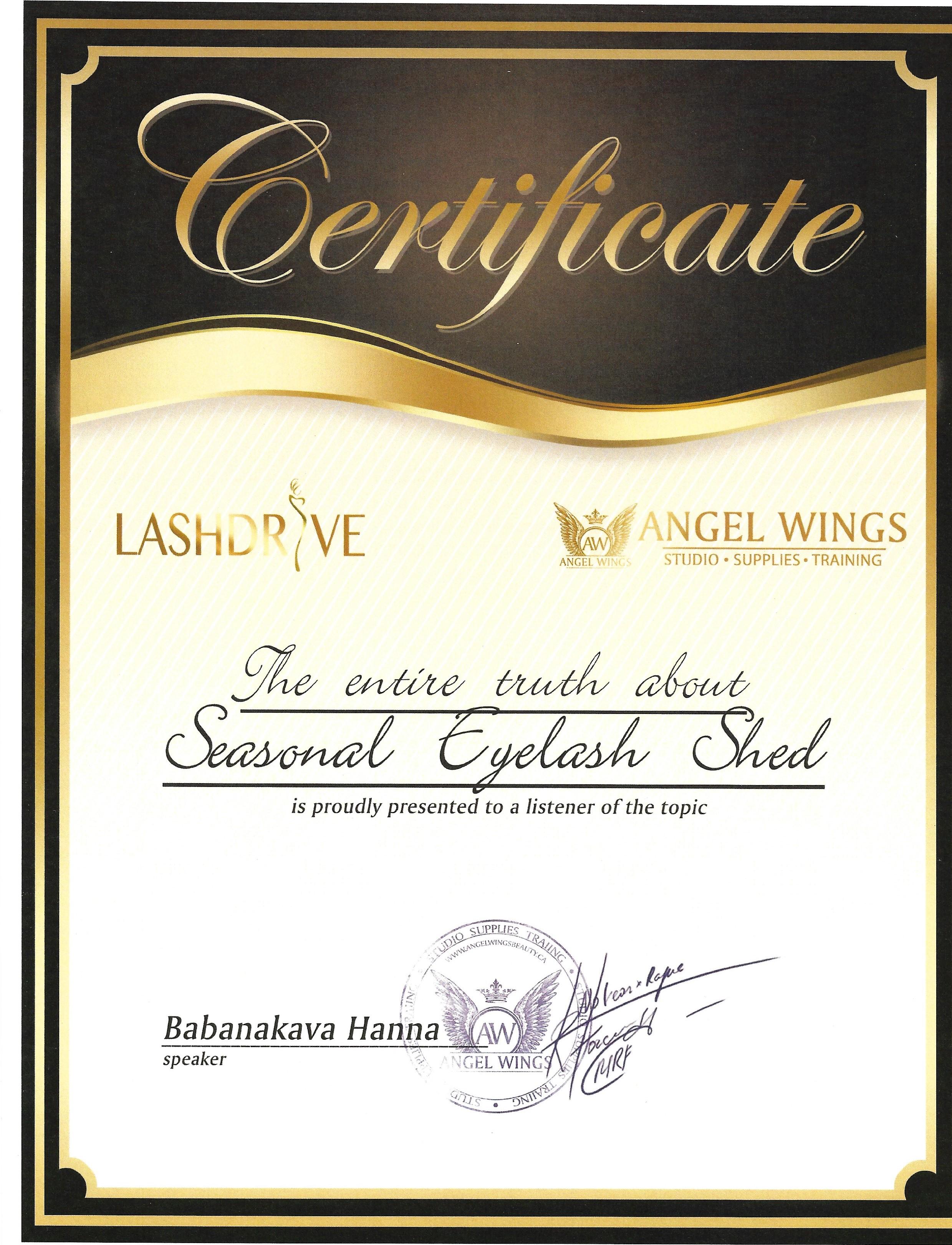 Certificaat Lash Shed