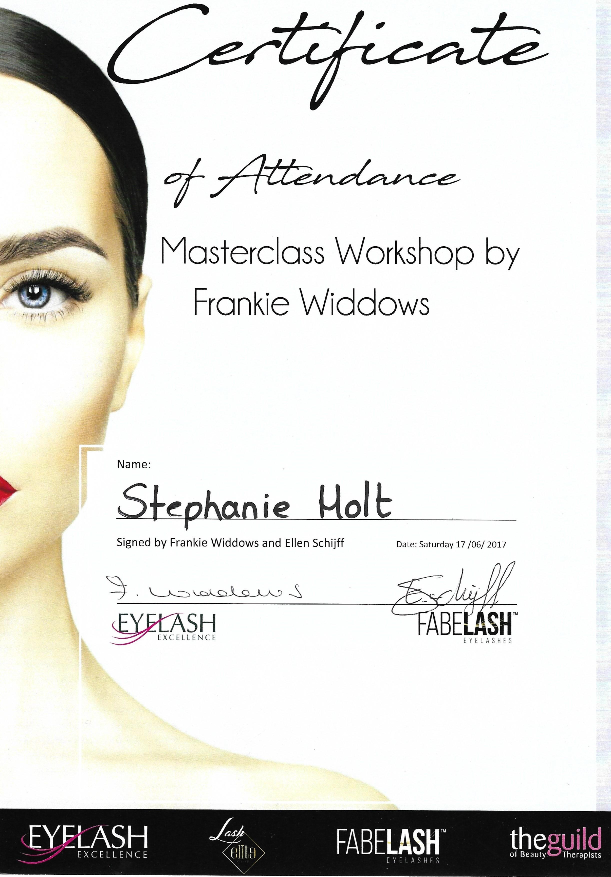 Certificaat Masterclass Frankie Widdows
