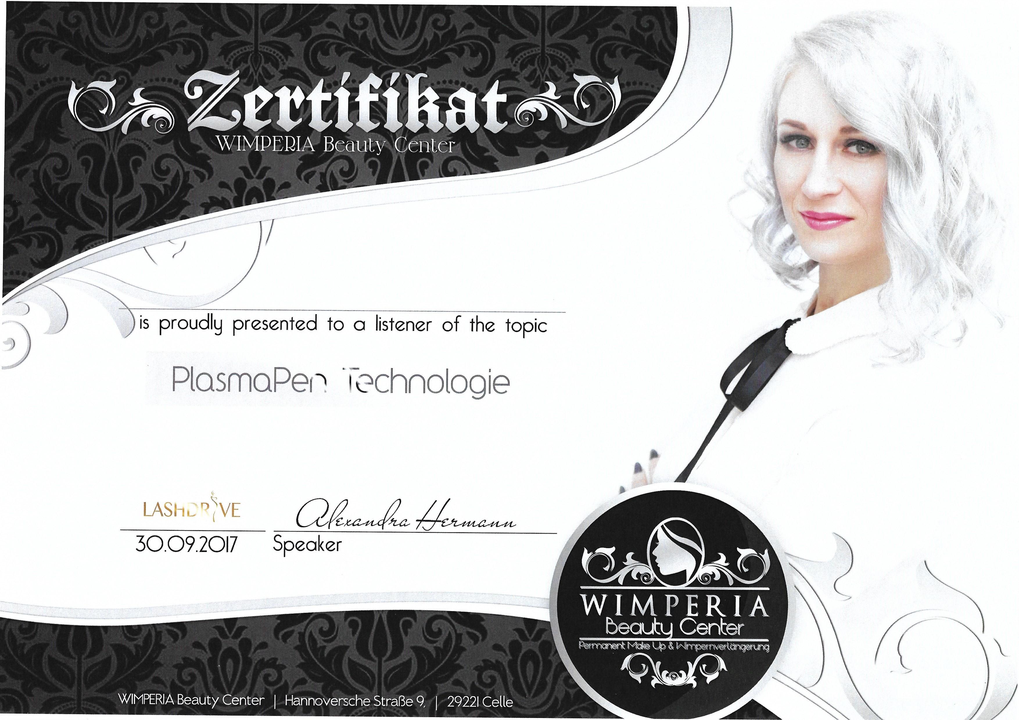 Certificaat Plasma pen technologie