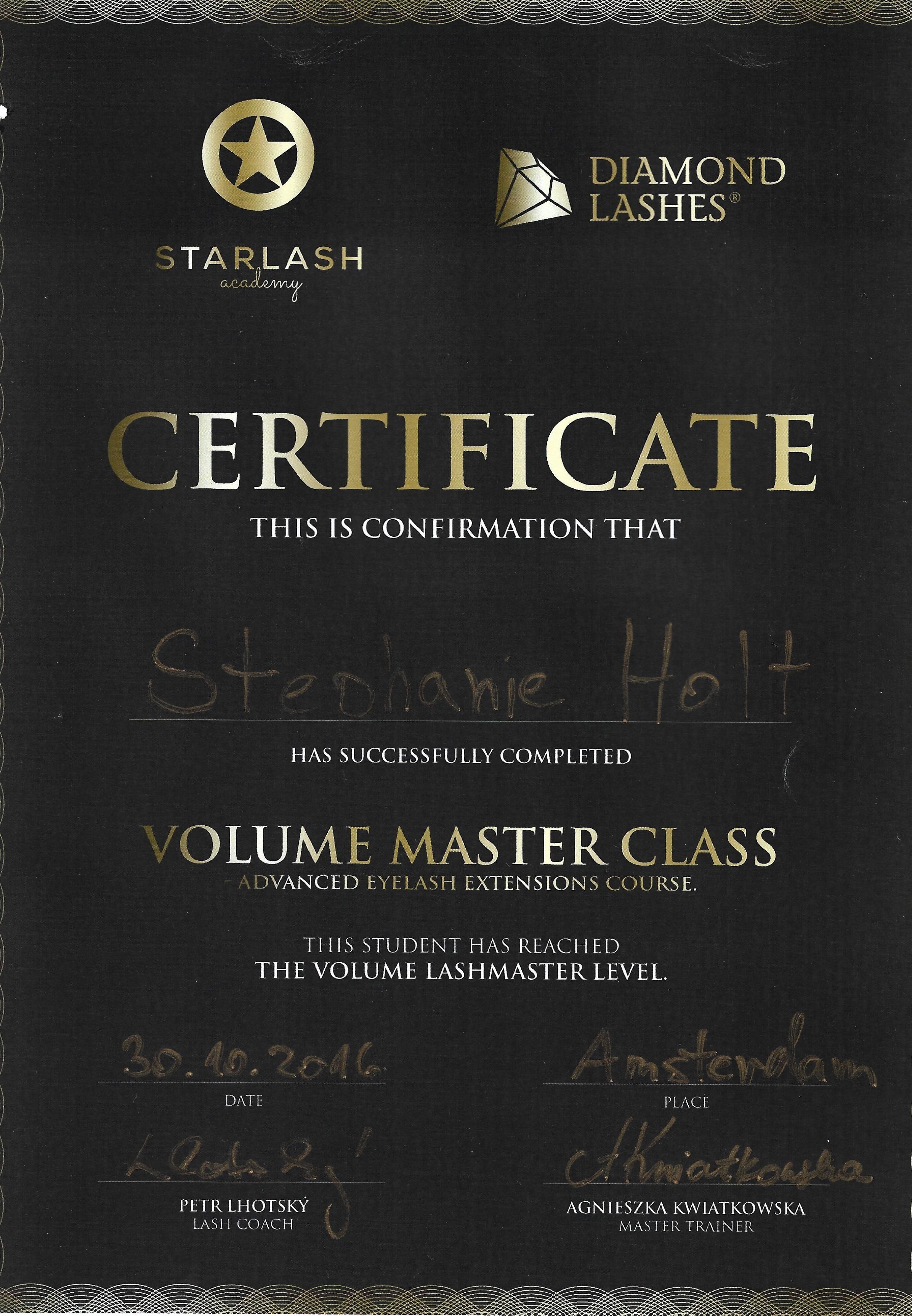 Certificaat Volume Masterclass Petr en Agnieszka